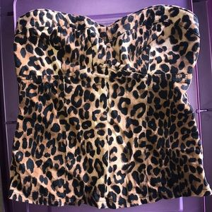 Ally - Leopard Print - Strapless Top